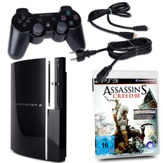 PS3 Konsole Fat 80 GB Modell Nr. CECHL04 in Schwarz + Stromkabel + HDMI-Kabel + Controller + Spiel Assassins Creed Iii